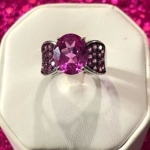 Jewelry - Bright Pink Colored Quartz Sterling Silver Ring